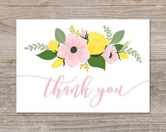 Floral Thank You Cards Wedding // Bridal Shower Thank You Template // Thank You Printable, Pink and Yellow Flowers