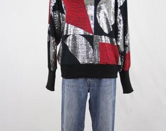 1980s Dolman Sleeves Blouson Top Party Blouse Net Knit Shirt