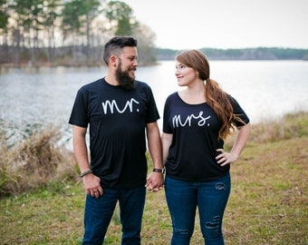Mr and Mrs Shirts - Husband and Wife Shirts - Bride and Groom Shirts, Couples Shirts, Mr and Mrs, Mrs Shirt, Honeymoon Shirts, Couple Shirts