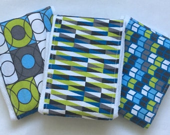 Green Gray and Blue Modern Geometric Baby Burp Cloths Set of 3 Handmade Upcycled Cloth Diapers