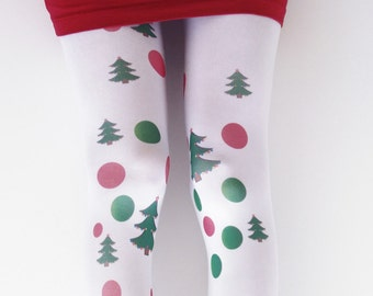 Opaque Christmas Women's Tights , Xmas Tights , Stockings , Green, Red , Christmas Tree , Hand Printed Tights