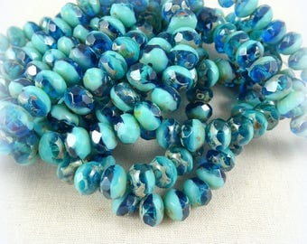 Czech Beads, 8x6mm Rondelle, Czech Glass Beads - Turquoise & Capri Blue Two Tone (R8/N-0705) - 12 pcs.