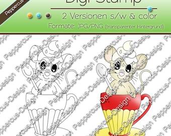 Digi stamp set - cups mouse / E0090
