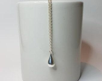 Silver Necklace, Tear Drop Necklace, Silver Pendant, Simple Necklace.