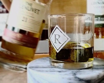 Rocks Whiskey Tumbler Gift Set, Personalized Lowball Glass , Monogrammed Double Old Fashioned Whiskey Glasses, Monogrammed Glasses