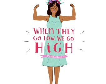 Michelle Obama Print - Hand-Illustrated