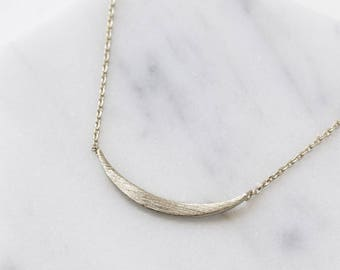 Silver Curved Bar Necklace, Gift For Her, Dainty Silver Necklace, Layering Necklace, Bar Necklace, Statement Necklace, Silver Chain  N386-S