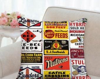 Designer Farm Labels Pillow