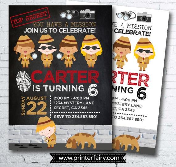 Detective invitation secret agent birthday invitation spy party il570xn filmwisefo Image collections
