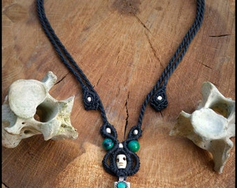 Primitive Dark macrame necklace with black Tourmaline and Crysocollas. Steampunk unisex powerful macrame necklace.