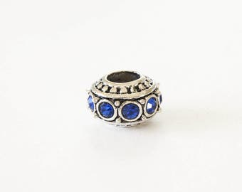 Silver Spacer Beads, Sapphire Rhinestone Beads, Large Hole - 2 pieces (138S)