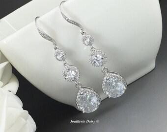 Long Cubic Zirconia Earrings, Bridal Jewelry, CZ Earrings,  Wedding Earrings, Bridal Earrings, Cubic Zirconia Earrings, Dangle Earrings