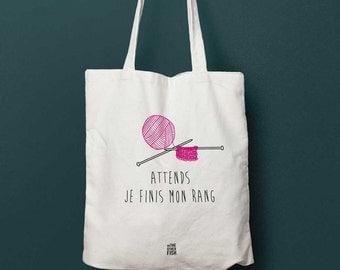 "Canvas bag ""Wait, I'm finishing my row"", personalized tote bag, tote bag, knitting bag, shopping bag, fabric bag, cotton bag, gift idea"
