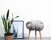 Light gray Knot stool, design chair, modern chair, industrial stool, wood stool