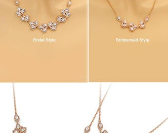 Wedding Necklace Rose gold plated Necklace Bridal Necklace CZ Necklace Wedding Jewelry Wedding Accessory Bridal Jewelry Bridesmaid Gift Tri