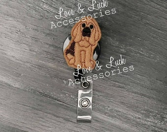 Bloodhound Dog ID Badge Reel -Retractable - Retail - office gift- nurses- security badge - Swivel Alligator Clip or Belt clip