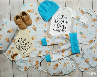 Newborn Baby Boy Coming Home Outfit, Dream Big Little One Gift Set Newborn Baby Boy Flannel Gift Set Only 1 Gift Set Left  40% OFF