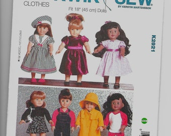 K2921 Kwik Sew 18 Inch Doll Clothes Sewing Pattern Makes All Outfits Shown Except Sailor Hat
