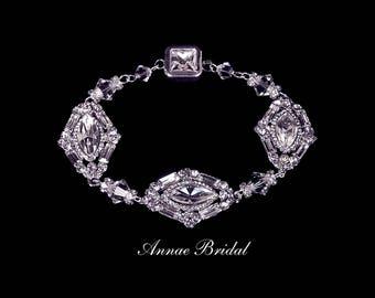 "Clear crystal art deco bracelet, bridal wedding Swarovski, silver,  rectangle,""Deco Elegance"" bracelet"