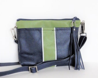 Leather crossbody bag in Seahawk colors. Navy and green leather crossbody or shoulder bag.