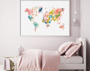 Printable Floral World Map - Nursery Art Print - Housewarming gift - Graduation gift - Trendy - Peach - Pink - Teal - Blue - Green -SKU:2209