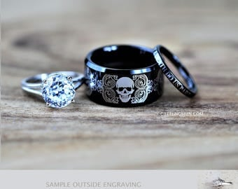 tungsten wedding ring set rocker biker skull 3 piece set custom engraved - Skull Wedding Ring Sets