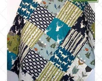 Baby Quilt, Rustic Baby Bedding, Woodland Baby Quilt, Moose Crib Bedding, Camping Crib Bedding, Buck Baby Bedding, Crib Bedding, Nursery
