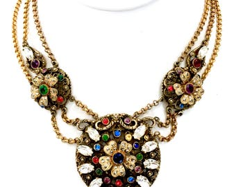 Multi-Color Rhinestone Necklace - Korda Style, Mid-Century, Jeweled Medallion, Antiqued Gold, Vintage, Statement Necklace, Gift for Her