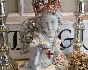 Distressed Cherub angel SHABBY Rhinestone Crown NORDIC white chippy lace Statue