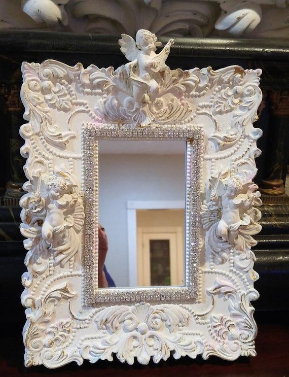 Vtg ChEruB angel white Chippy RHINESTONE Mirror ~ SHABBY