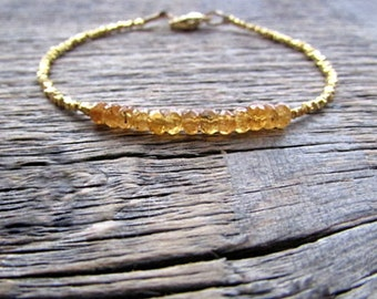 Orange Garnet Bracelet, Mandarin Garnet Bracelet, January Birthstone Bracelet, Garnet Jewelry, Hill Tribe Gold Bracelet, Hessonite Bracelet