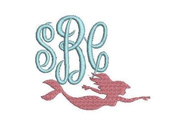 Mermaid Swimming Design File for Embroidery Machine Monogram Applique Instant Download