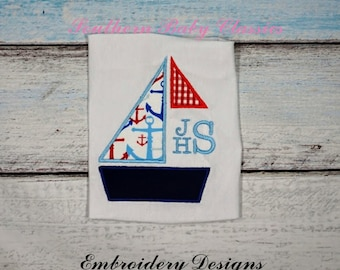 Boat Sailboat Monogram Frame Applique Nautical Boy Design File for Embroidery Machine Instant Download