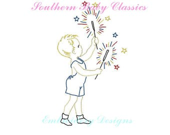 Vintage Stitch Patriotic Boy in Romper Jon Jon with Sparklers Fourth of July Memorial Day File for Embroidery Machine Instant Download