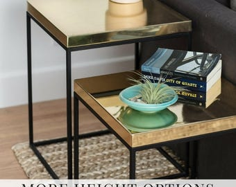 Brass Side Tables Cube Table for Lofts Corner Table Contemporary Gold Nightstand Minimal Bedside Table Midcentury End Table #PCD1