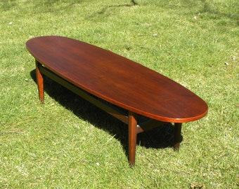 Vintage Mid Century Solid Wood Surfboard Coffee Table