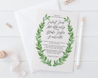 Printable Greenery Wedding Invitation Set,Green Wreath Watercolor Wedding Invitation,Botanical DIY Wedding Suite,Spring Summer Garden Invite