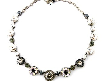 Swarovski Crystal Statement Necklace, Ornate Flowers, Clear, Gray, Black, Chic Metallic Silver, Night Fever, Siggy Jewelry, FREE SHIPPING