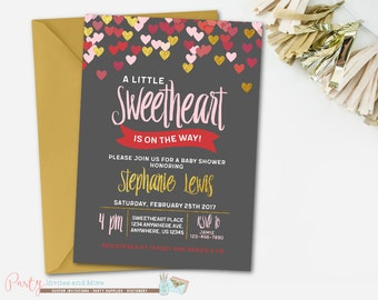 Sweetheart Invitation, Sweetheart Baby Shower Invitation, Valentines Day Baby Shower, Valentines Baby Shower Invitation, Heart Invitation