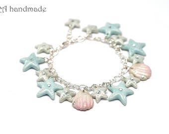 Cute Sea Shell and Sea Star Bracelet
