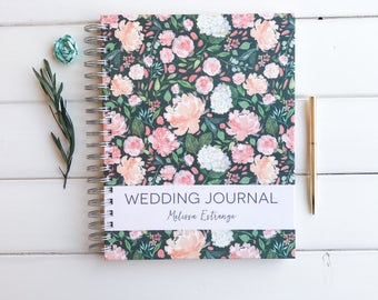 Customized Wedding Journal. Personalized Bride Gift. Bridal Shower Guest book. Wedding Memory Book. Custom Notebook Wedding Journal. Floral