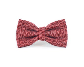 Red Flannel Herringbone Bow Tie - Red Geometric Modern Christmas Holiday Dog and Cat Bow Tie