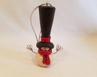 Wooden Snowman, Christmas Ornament, Hand Carved Snowman, Christmas Decoration, Hand Carved Ornament, Wooden Ornament