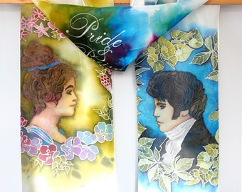 Pride and Prejudice scarf - Elizabeth and Darcy scarves - hand painted silk - Jane Austen gift - Art Nouveau secession - cameo