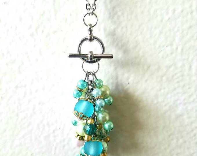 Interchangeable Green Teal Blue White Gold Beaded Crystal Toggle Pendant