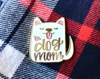 Dog Mom Enamel Pin White - Dog Pin - Dog Enamel Pin - Dog Brooch Pin - Dog gift - Dog lapel pin - Gifts for her under 30