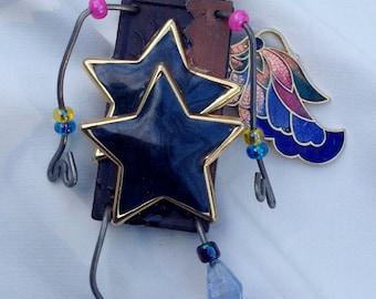 Zen Steampunk,Reclaimed Treasures,Fantasy Art,Wearable Art,Whimsical Jewelry,Storyteller Art Pin,Assemblage Art,One Winged Angel,Star Light