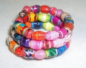 Vibrant Micro Multi Colors Paper Bead Wrap Finger Ring -- Size 5