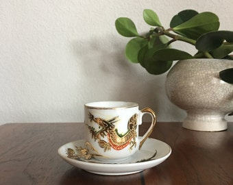 Vintage Japanese Hand Painted Tea Cup and Saucer, Gifte under 15