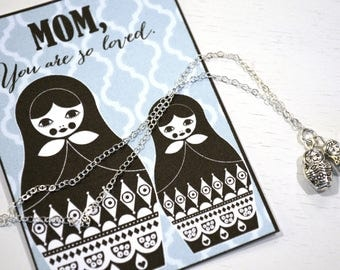 mother daughter necklace / mother daughter jewelry / matryoshka necklace / birthday gift mom / sterling silver / mom gift / christmas gift